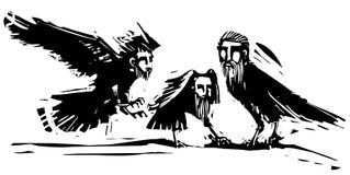 Cuervos con las cabezas de hombres Fotos de archivo libres de regalías