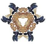 Cuervos en triángulo de estilo celta de los corazones del amor stock de ilustración