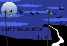 Cuervos que charlan el día de Halloween Imagen de archivo
