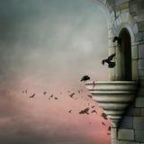 Cuervos y torre stock de ilustración