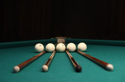 Cues & Balls Royalty Free Stock Photography