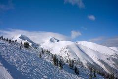 Cuesta alpestre del esquí en el invierno Bulgaria fotografía de archivo libre de regalías