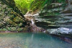Cuesta boscosa demasiado grande para su edad con la hiedra y el musgo con la cascada que fluye abajo Foto de archivo