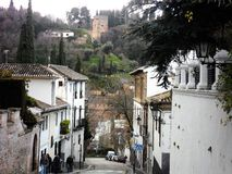 CUESTA DE CHAPI street-Albayzin -Granada-Spain Royalty Free Stock Photography