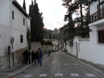 Cuesta de Chapiz street- Albayzin  -Granada-Spain Royalty Free Stock Image