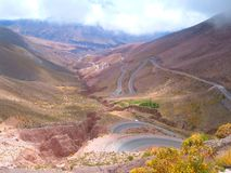 Cuesta de Lipan Jujuy Argentina. Lipan slope of the mountains of Jujuy below the clouds Royalty Free Stock Photography