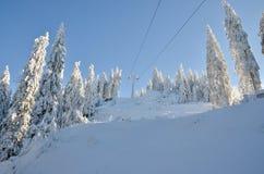 Cuesta del esquí en la mucha altitud, paisaje del invierno Fotos de archivo libres de regalías
