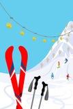 Cuesta del esquí, vertical Foto de archivo libre de regalías