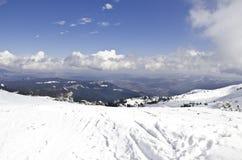 Cuesta del esquí y del snowboard Imagen de archivo libre de regalías
