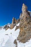 Cuesta L'Aiguille Percee cerca de Tignes, Francia Foto de archivo