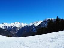 Cuesta nevada del esquí imagenes de archivo