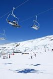 Cuestas del esquí de la estación de esquí de Pradollano en España Fotografía de archivo libre de regalías