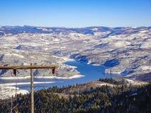: Cuestas del esquí en Wyoming fotografía de archivo