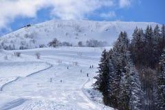 Cuestas y esquiadores del esquí Fotos de archivo libres de regalías