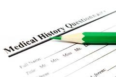 Cuestionario médico Imagen de archivo libre de regalías