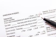 Cuestionario médico de la forma Imagen de archivo libre de regalías