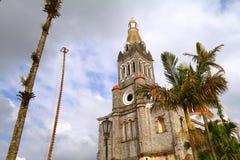 Cuetzalan kyrka I royaltyfri fotografi