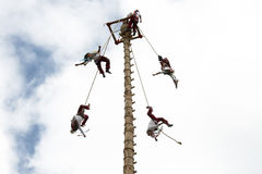 CUETZALAN, MEKSYK - 2012: Rodzina akrobata znać jako ` los voladores ` wykonuje w Cuetzalan zocalo zdjęcia stock