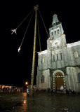 CUETZALAN, MEXICO - 2012: A family of acrobats known as `los voladores` perform in the Cuetzalan zocalo Stock Photos