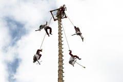 CUETZALAN, MEXIKO - 2012: Eine Familie von den Akrobaten, die als ` los-voladores ` bekannt sind, führen im Cuetzalan-zocalo durc stockfotos