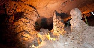 Cueva cantada caída del borrachín, bahía de Halong Foto de archivo