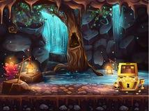Cueva con una cascada, árbol, cofre del tesoro de la fantasía
