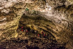 Cueva de los Verdes, an amazing lava tube and tourist attraction on Lanzarote island royalty free stock image