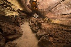 Cueva de los Verdes Attraction touristique à Lanzarote, tube de lave volcanique étonnant photo stock