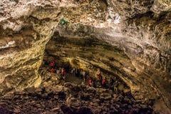 Cueva de los Verdes, ett fantastiskt lavarör och turist- dragning på den Lanzarote ön Royaltyfri Bild