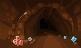 Cueva del tesoro con los cristales Concepto, arte para el juego de ordenador Imagen de fondo para utilizar los juegos, apps, band stock de ilustración