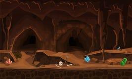 Cueva del tesoro con los cristales Concepto, arte para el juego de ordenador Imagen de fondo para utilizar los juegos, apps, band ilustración del vector