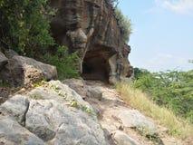 Cueva en scrubland con la vegetación Imagen de archivo libre de regalías