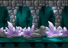 Cueva inconsútil del vector de la historieta con las capas separadas para el juego y la animación Imagen de archivo libre de regalías