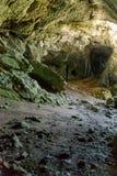 Cueva koppar, f?delse av floden Pisuerga i nationalparken av Fuentes Carrionas Palencia royaltyfri bild