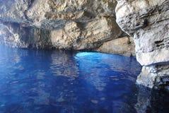 Cuevas azules en Zakynthos Imágenes de archivo libres de regalías