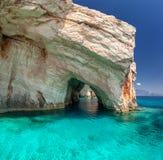 Cuevas azules, isla de Zakinthos, Grecia Foto de archivo libre de regalías