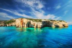 Cuevas azules, isla de Zakynthos Imágenes de archivo libres de regalías