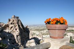 Cuevas de Cappadocia y las flores fotografía de archivo