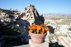Cuevas de Cappadocia y las flores foto de archivo