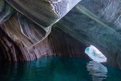 Cuevas de mármol Capillas del Marmol El lago general Carrera también llamó a Lago Buenos Aires Al norte de Patagonia chile foto de archivo libre de regalías