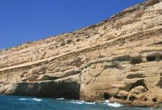 Cuevas de Matala Foto de archivo