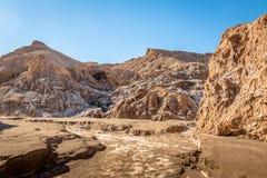 Cuevas de Sal Salt foudroie le canyon à la vallée de lune - désert d'Atacama, Chili image libre de droits