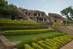 Cuevas de Udayagiri Foto de archivo