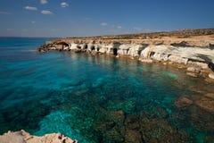 Cuevas del mar de Chipre Imagen de archivo libre de regalías