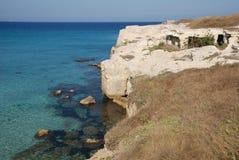 Cuevas en la poesía, Puglia Foto de archivo