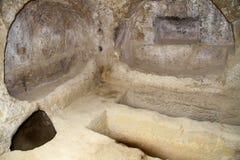 Cuevas en Matala crete Grecia imagen de archivo
