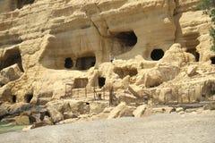 Cuevas en Matala crete Grecia imagen de archivo libre de regalías