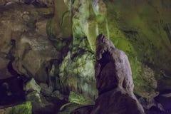 Cuevas y formaciones de la cueva en el barranco del río al lado de Bor Imagenes de archivo