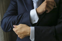 Cuff links men;gentlemans fashion Royalty Free Stock Photo