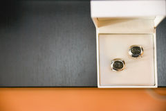 Cuff links. In a wedding day stock photo